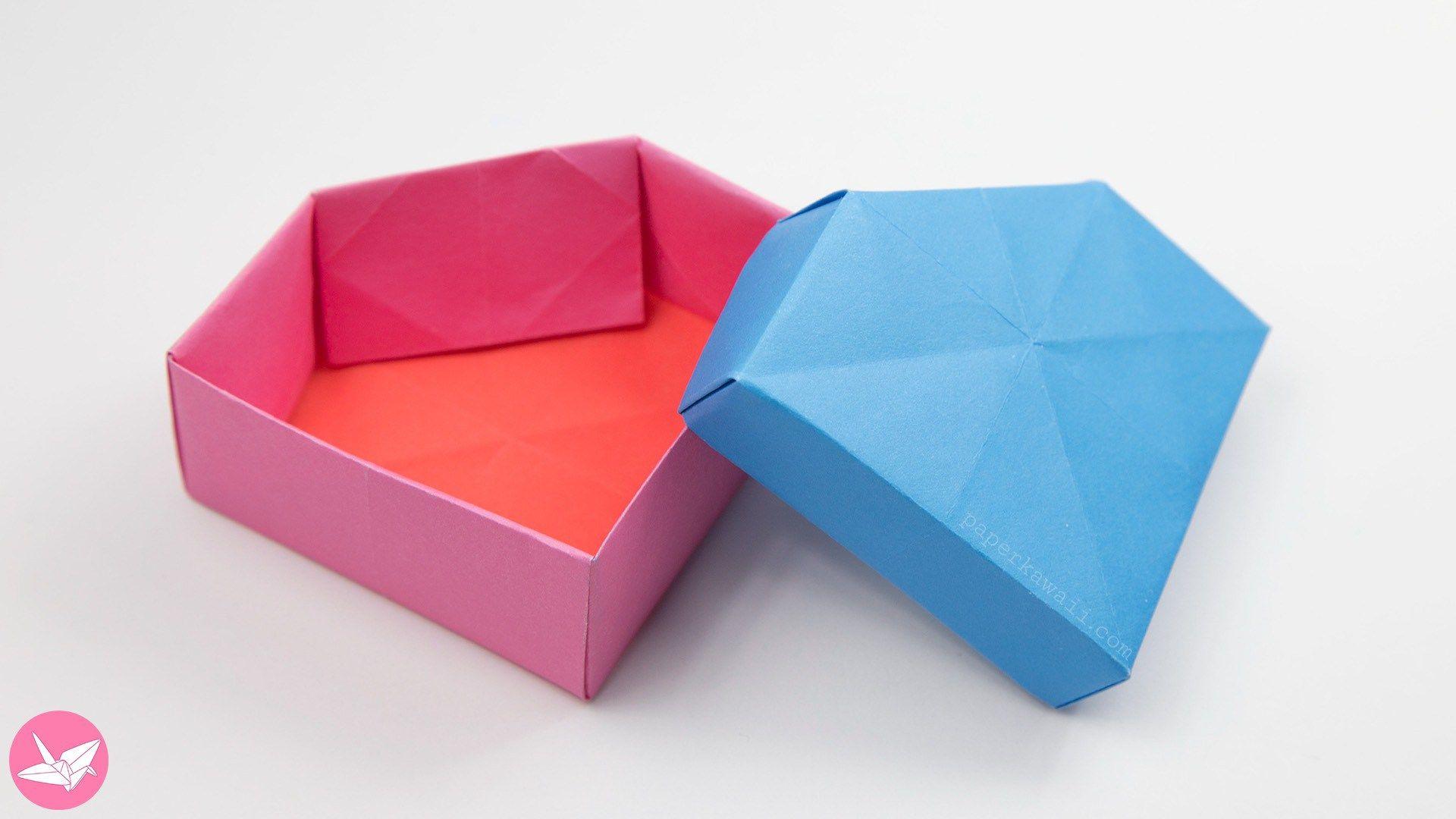 Origami Gem Box Lid Tutorial Revised Paper Kawaii Origami Box With Lid Origami Origami Box
