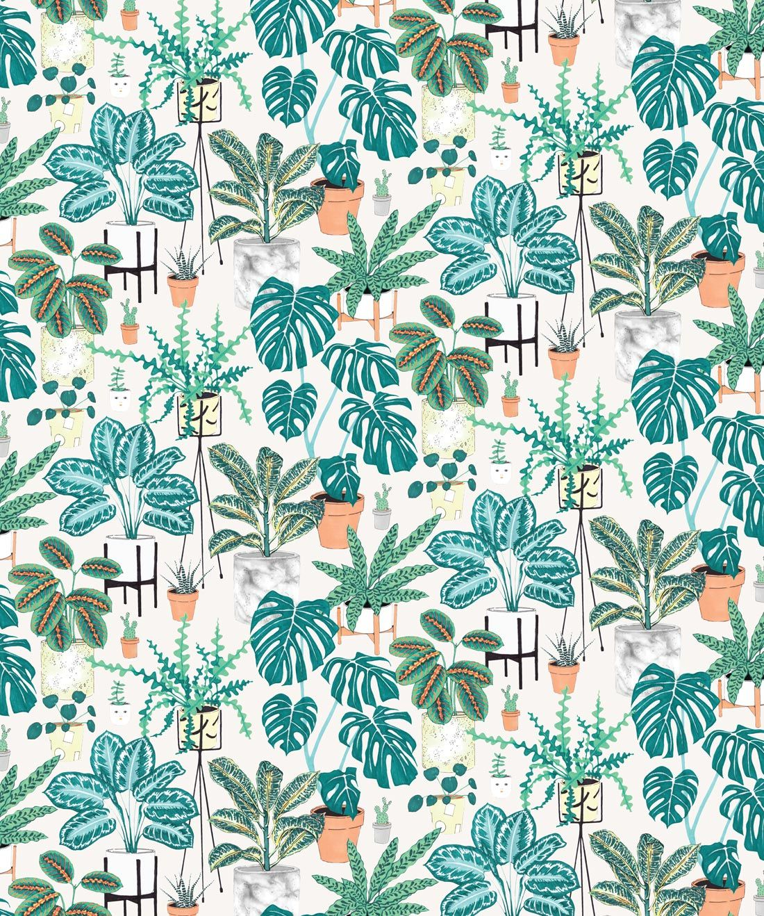 House Plants Wallpaper Sample in 2020 Botanical