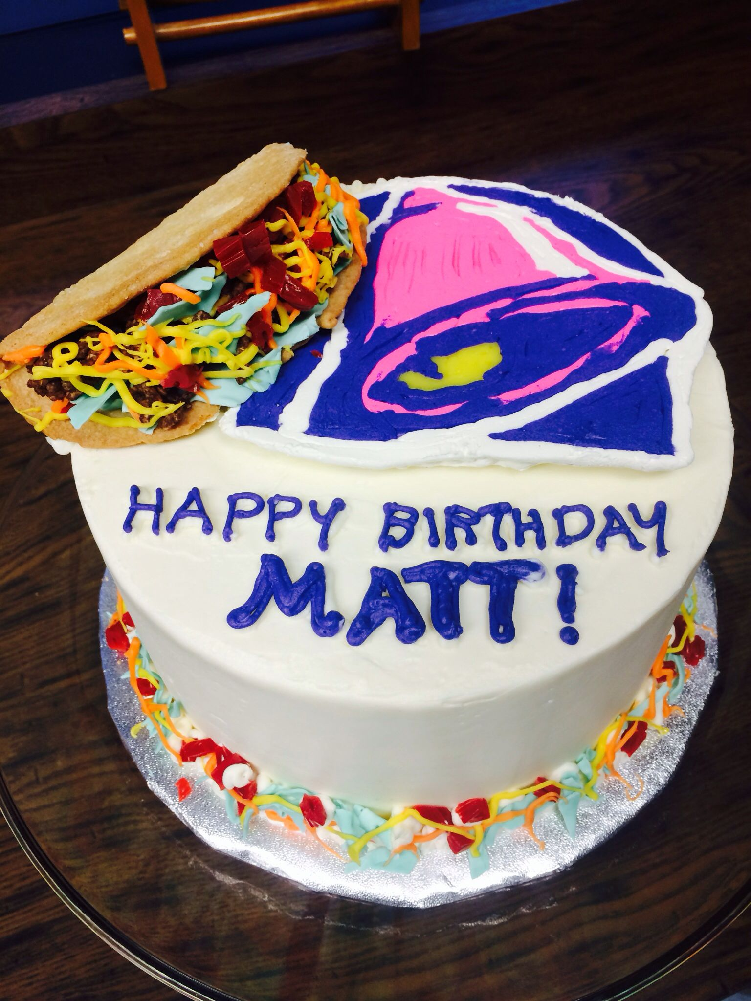Taco bell theme cake school birthday treats cake