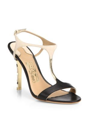 Salvatore Ferragamo Embossed T-Strap Sandals official site cheap price cheap shop offer lowest price cheap online discount huge surprise hV2mD