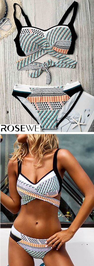 Geometric Print Tie Back Bikini Set mit niedriger Taille   - Fashion - #Bikini #Fashion #Geometric #...