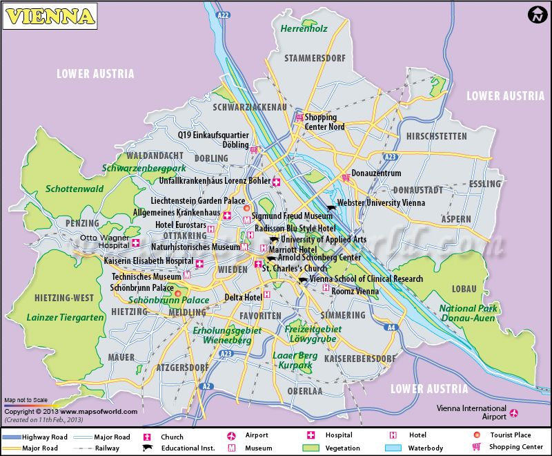 Vienna Map the capital of Austria showing major landmarks – Vienna Tourist Attractions Map