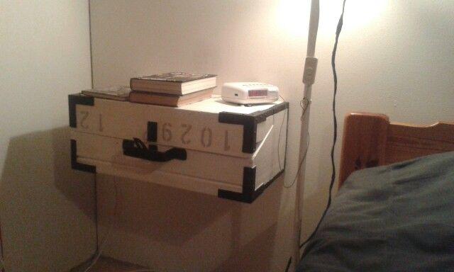Yöpöytänä vanha puinen työkalupakki. #yöpöytä