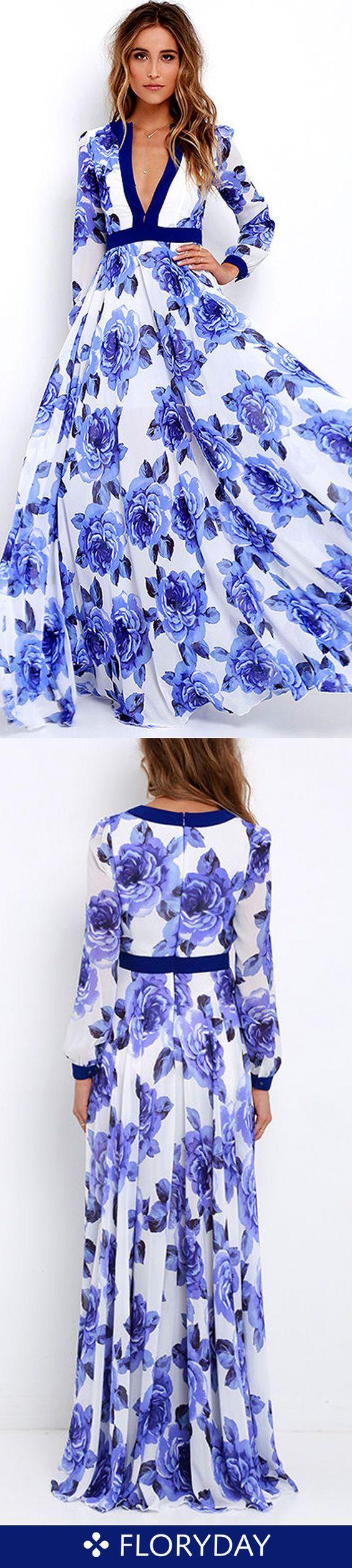Floral vneckline long sleeve maxi aline dress clothes clothing