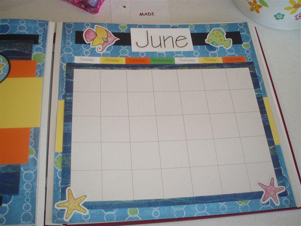 Scrapbook ideas calendar pages - Creative Memories Calendar Page