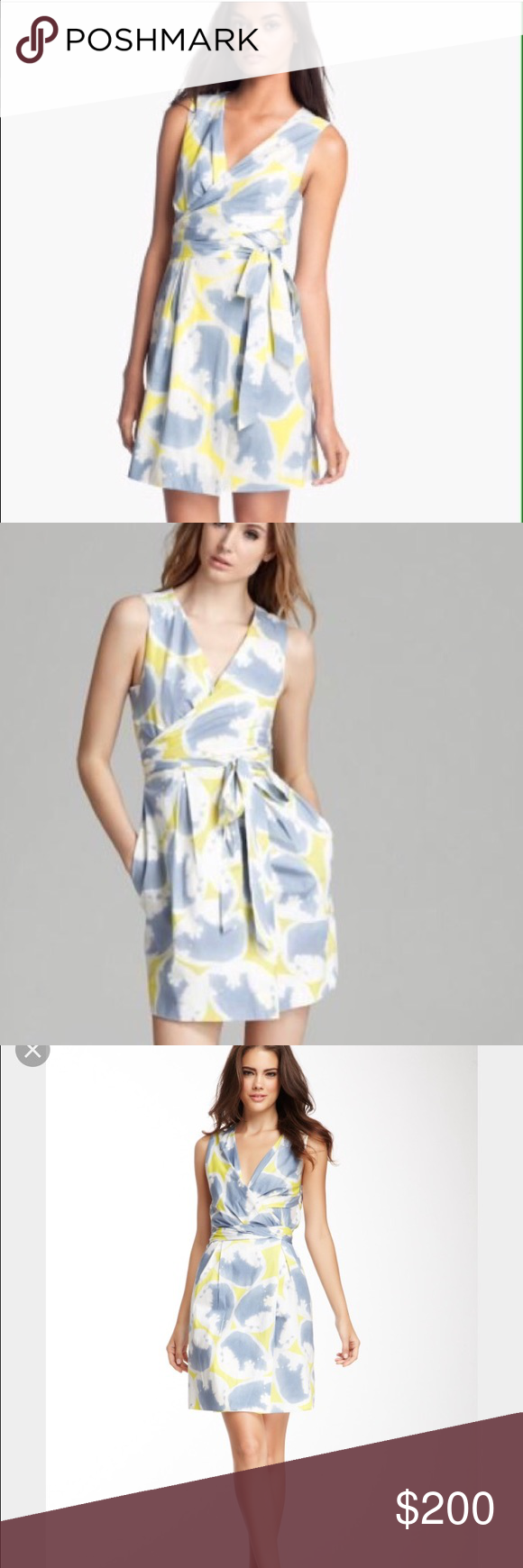 DvF Carol Mini Wrap Dress Get this classic DvF wrap dress in acid water yellow print. DvF's signature wrap dress is flattering for everyone and this is a total steal! Worn only a handful of times, this dress is in amazing condition! Diane von Furstenberg Dresses Mini