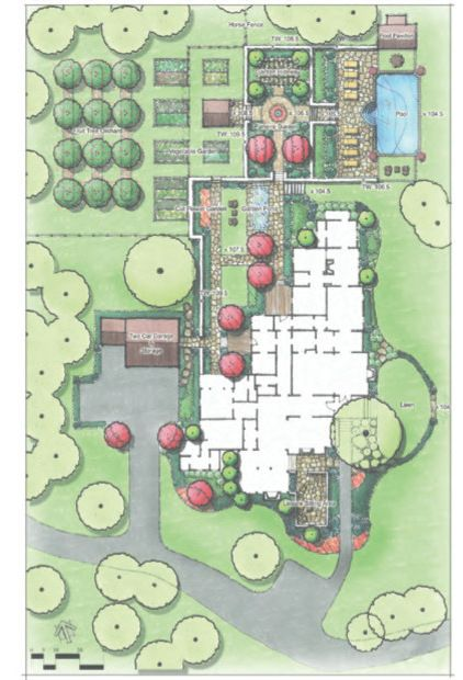 farmhouse site and landscape plan