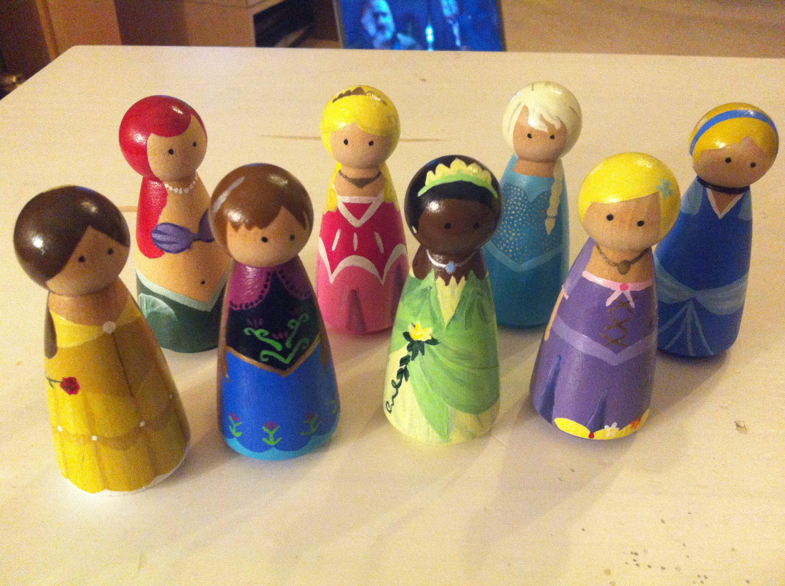 Small Bears Disney Princess Peg Dolls Peg Peoples Wood Peg
