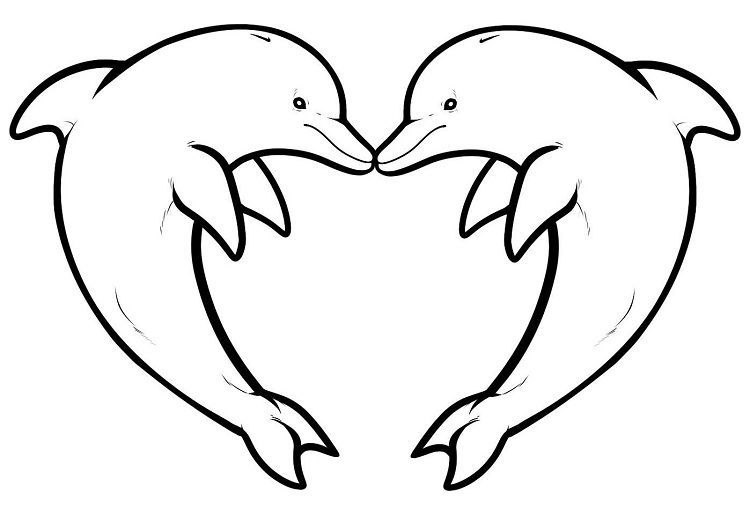 Heart Animal Coloring Pages In 2020 Dolphin Coloring Pages Heart Coloring Pages Dolphin Drawing