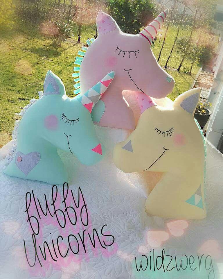 Fluffy unicorns einh rner dekoration kissen wildzwerg spring handmade sewingproject - Einhorn dekoration ...