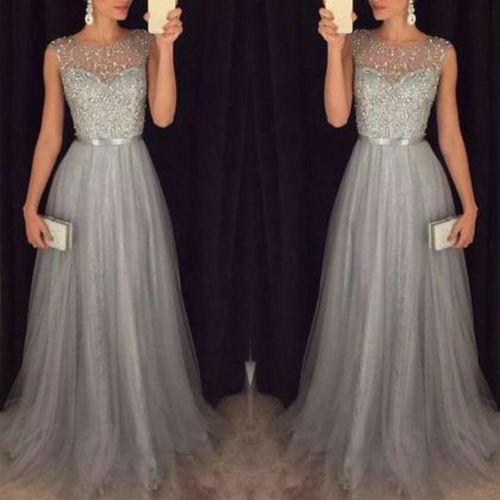 Damen Pailletten Abendkleid Brautjungfern Hochzeitkleid Ballkleid