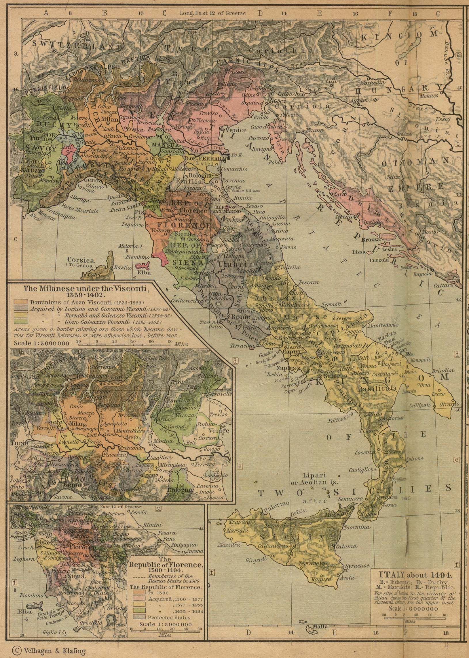 Historical Maps of Europe Italy about 1494 774K Insets The