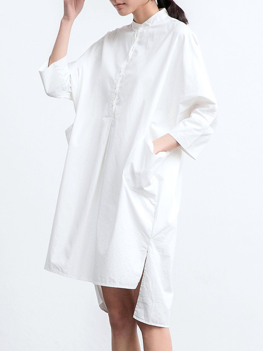White cotton long sleeve high low pockets midi dress white cotton
