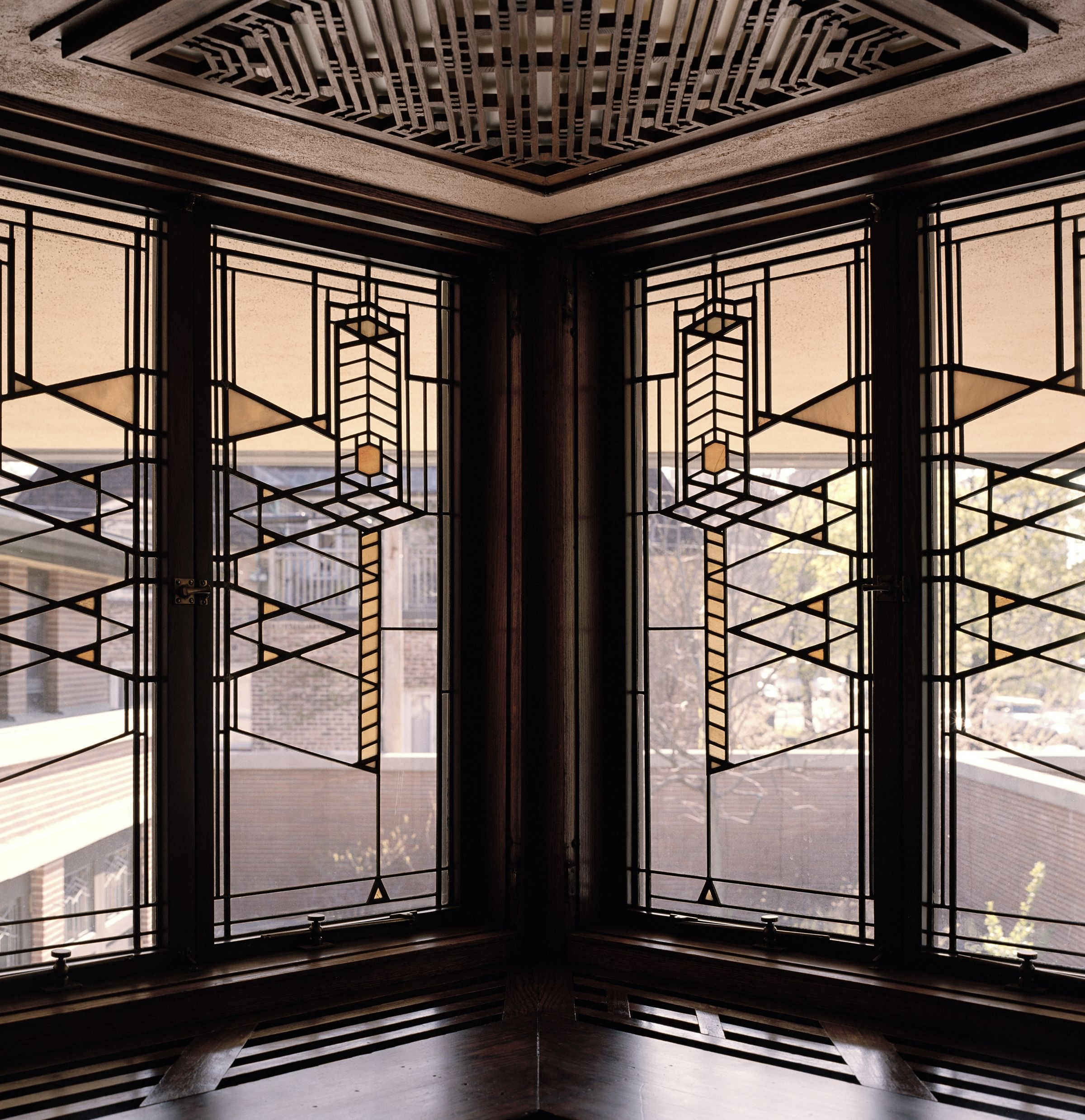 Elegant Stained Glass Doors And Windows; 1890s 1910s; Frederick C. Robie House; Photo