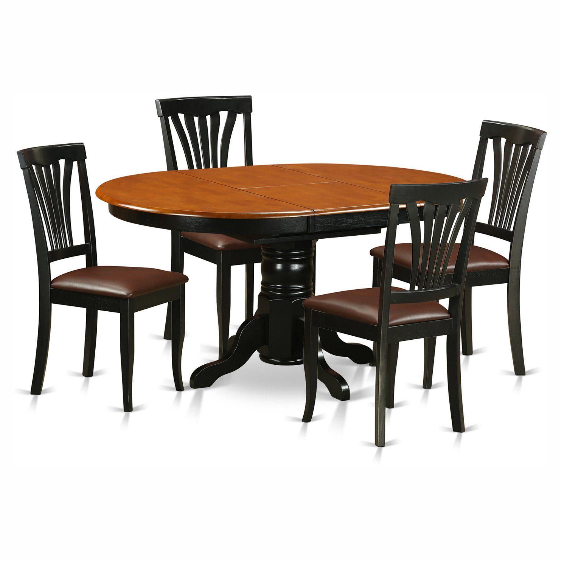 East West Furniture Avon 5 Piece Pedestal Oval Dining Table Set Pleasing Oval Dining Room Table Set Design Decoration