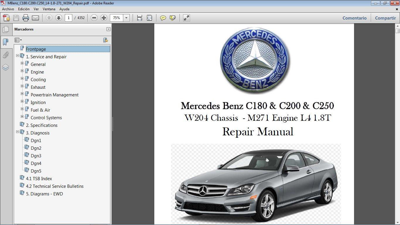 Mercedes Benz C180 C200 C250 1 8t W204 Workshop Repair Manual Manual De Taller Mercedes Benz C180 Mercedes Benz Mercedes
