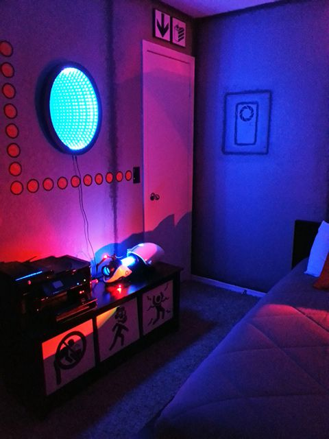 Portal Themed Bedroom Filled With Posters Signs Bedroom