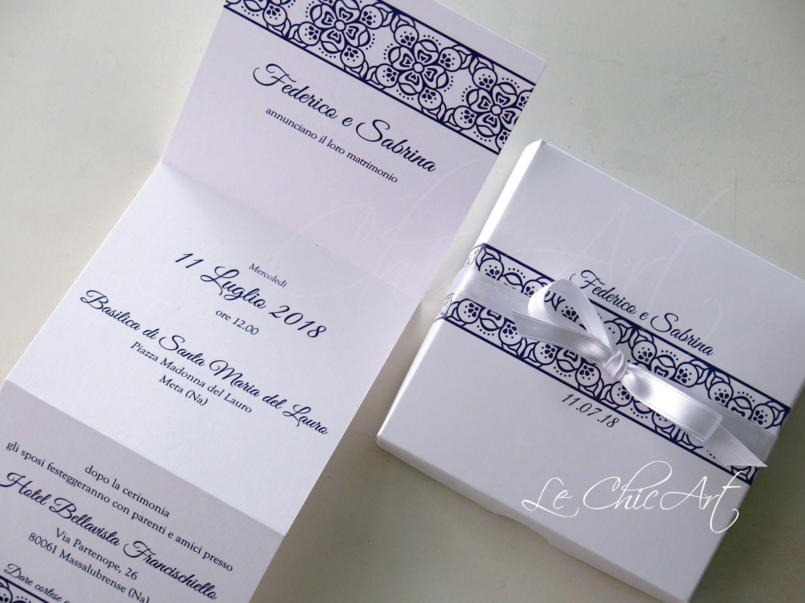 Partecipazione Matrimonio Stile Vietri In Blu Navy Matrimonio Partecipazioni Nozze Nozze
