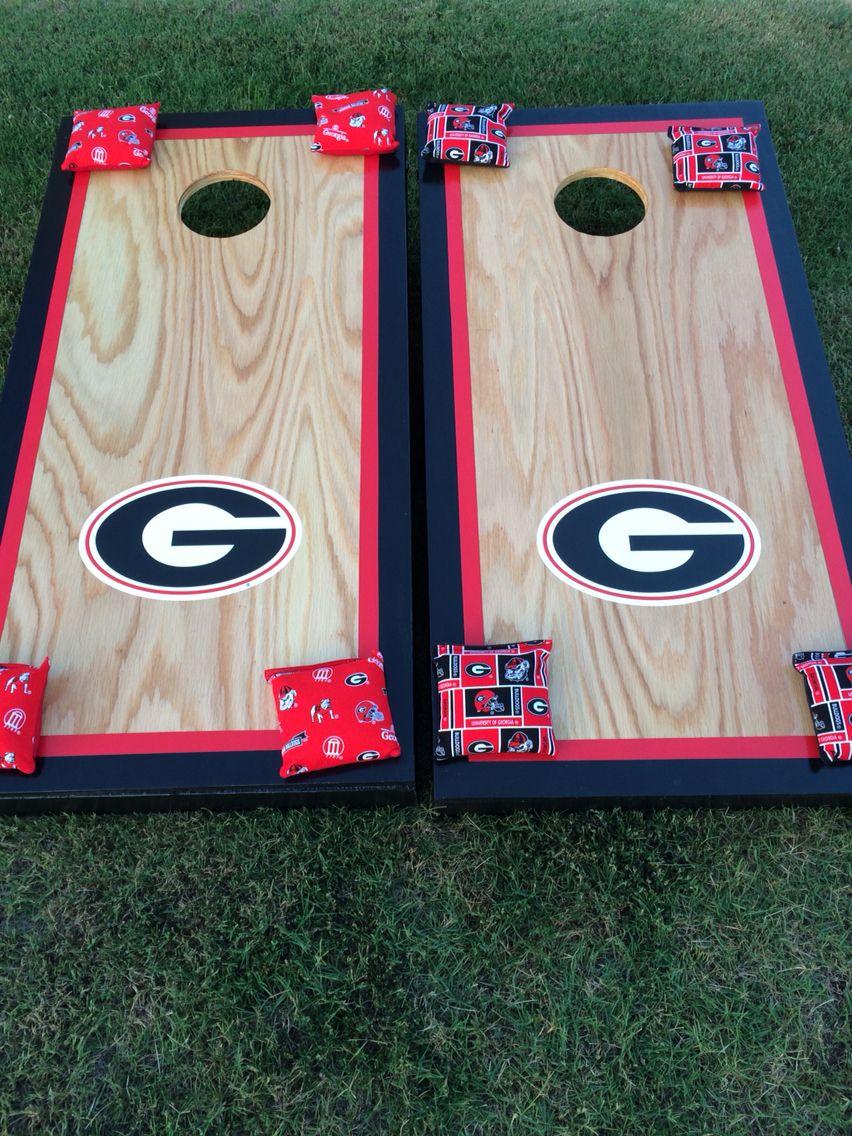 Custom UGA corn hole boards Cornhole designs, Burlap