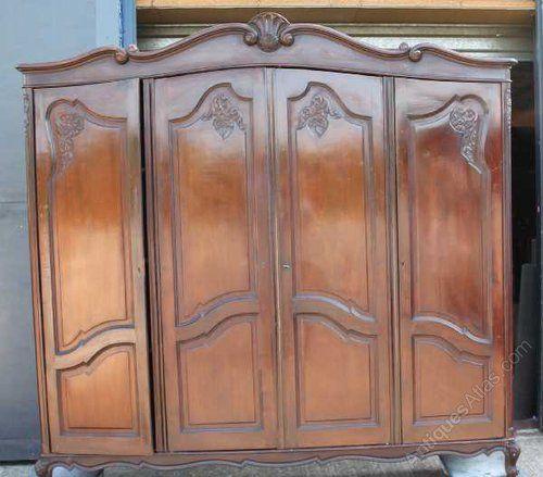 Beau French Louis XV Style Walnut 4 Door Armoire   Antiques Atlas