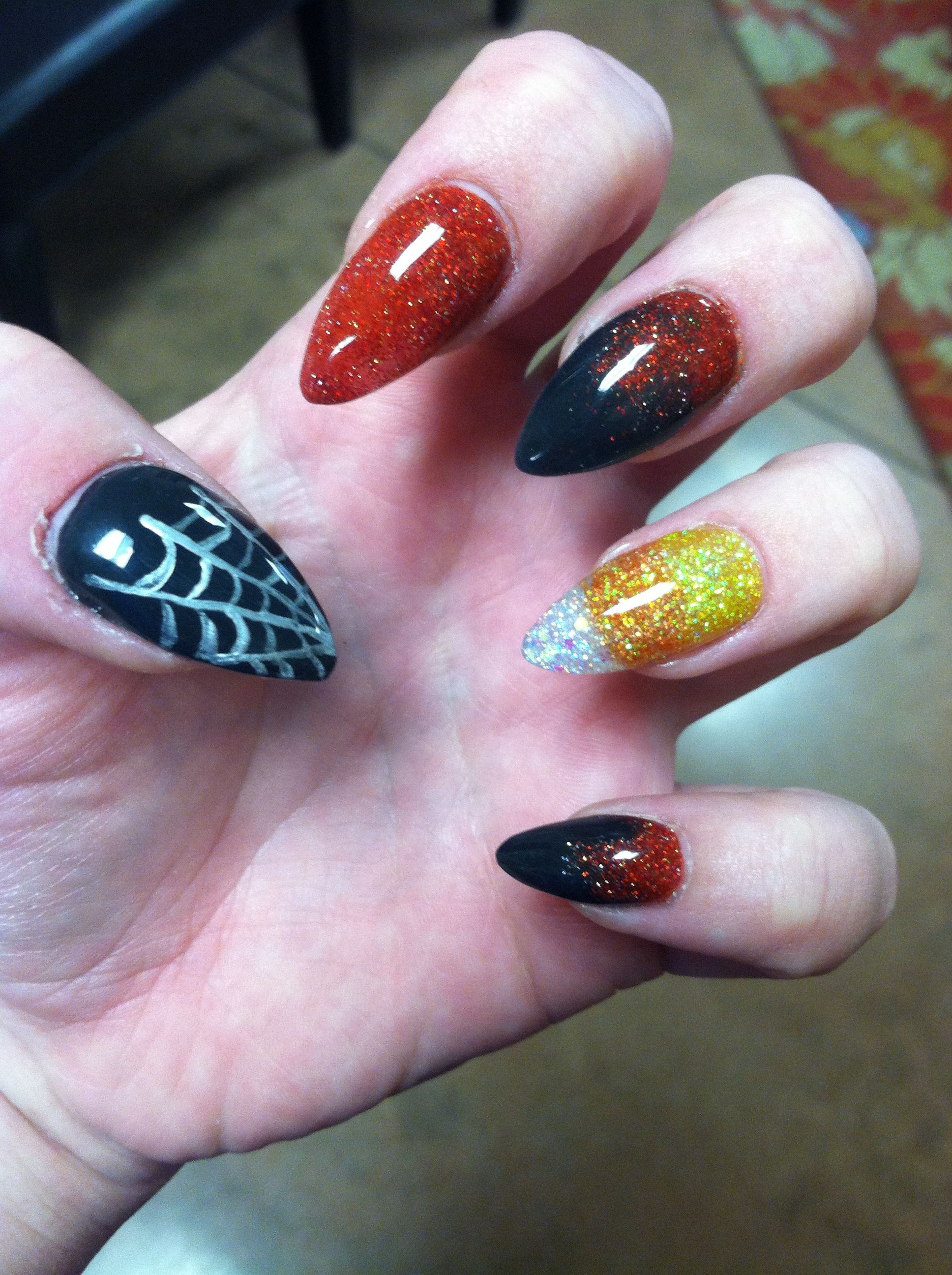 Halloween candy corn stiletto spider web black and red ...