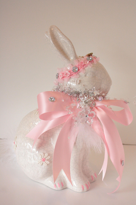 Ceramic Easter Bunny Figurine Embellished Shabby Cottage Chic Pink ...