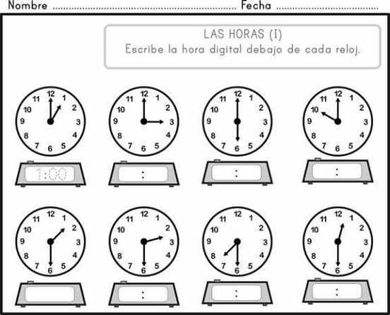 Pin De Mary En Educación Reloj Para Niños Hojas De Trabajo De Matemáticas Actividades De Letras