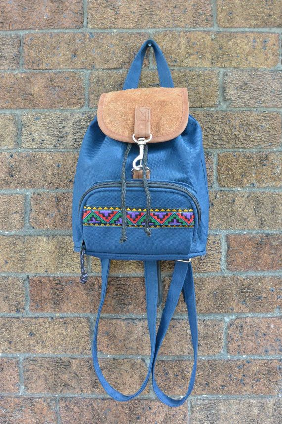 Vintage Mini Backpack southwestern blue by littleraisinvintage a2ebd9b9fab5b