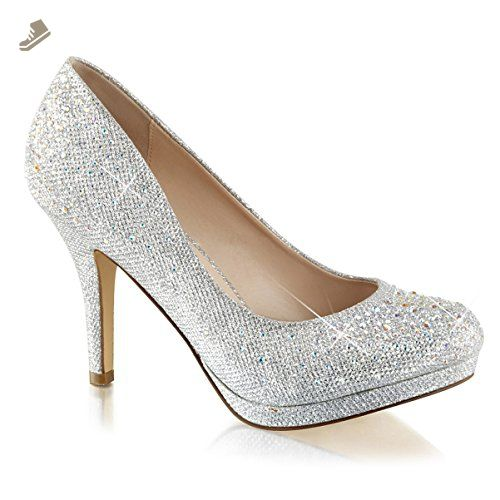 805861cdc68c1 Womens Silver Rhinestone Shoes Glitter Pumps Sparkly High Heels 3 1 ...