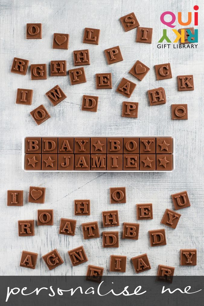 Personalised Birthday Alphabet Chocolate Box by Quirky Gift Library