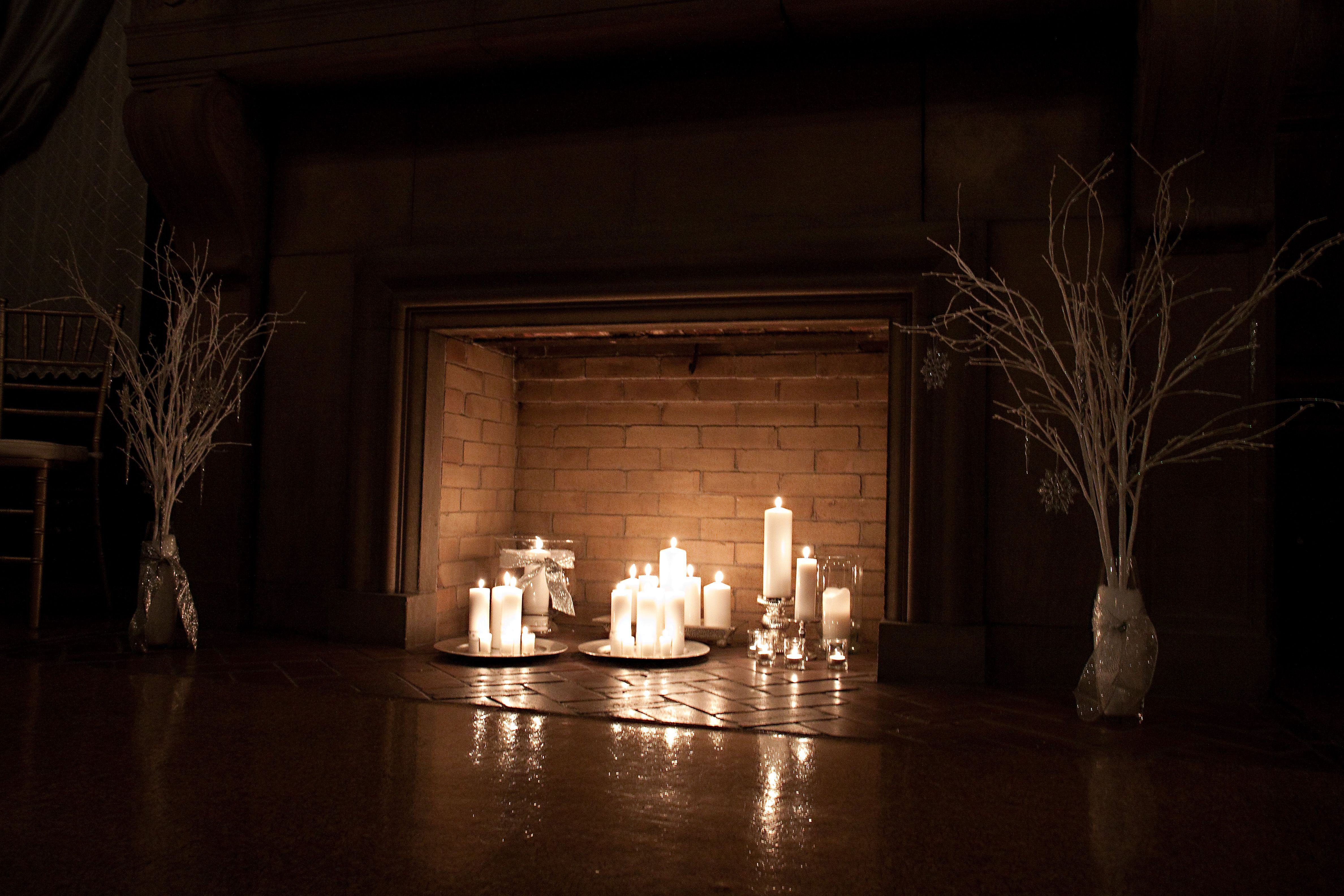 Candles In A Fireplace wedding fireplace candle display | linds and scott ~ winter
