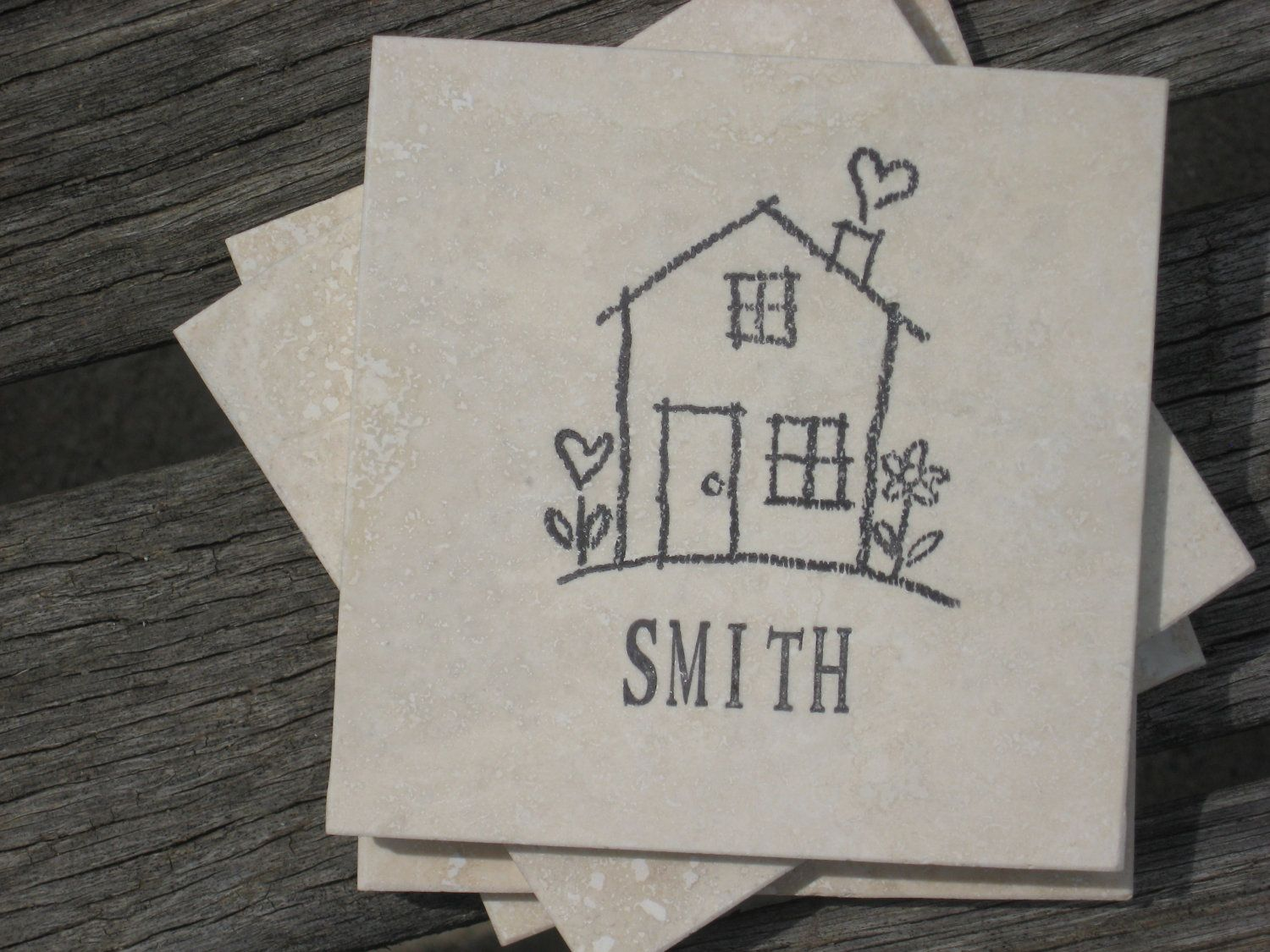 Personalized Coasters - House Coasters - Set of 4 Tile Coasters - Hand Stamped