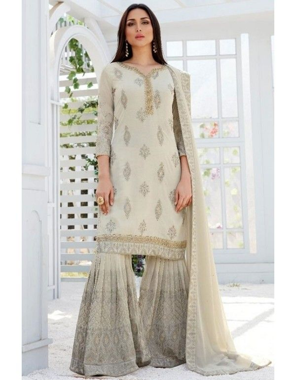 546d0e002b Dusty Pearl Embroidered Georgette Sarara Kameez in 2019   Sarara ...
