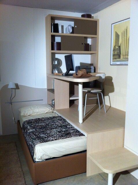 Lit Estrade Idee De Rangement Petits Espaces Chambre Kids Loft Beds Tiny Loft Small Bedroom
