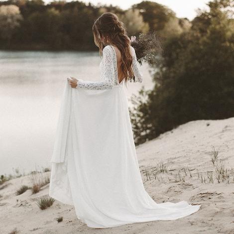LORIE Strand Brautkleid Langarm Boho V-Ausschnitt Open Back Brautkleider 2018 Chiffon Princess Lace Chiffon Brautkleid novia #lacechiffon