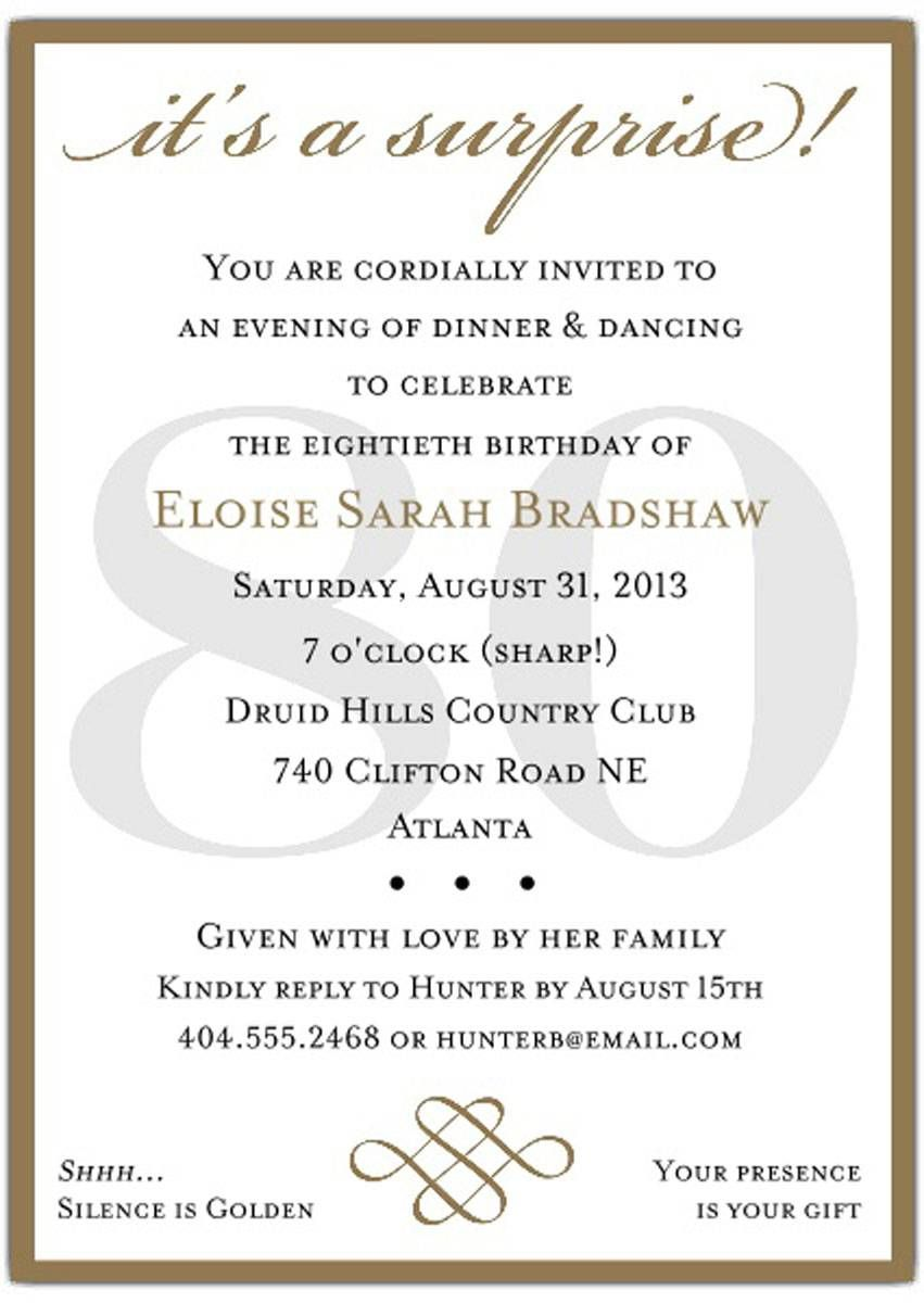 Surprise 80th Birthday Party Invitation Templates Party Invite Template Birthday Party Invitation Templates 80th Birthday Invitations