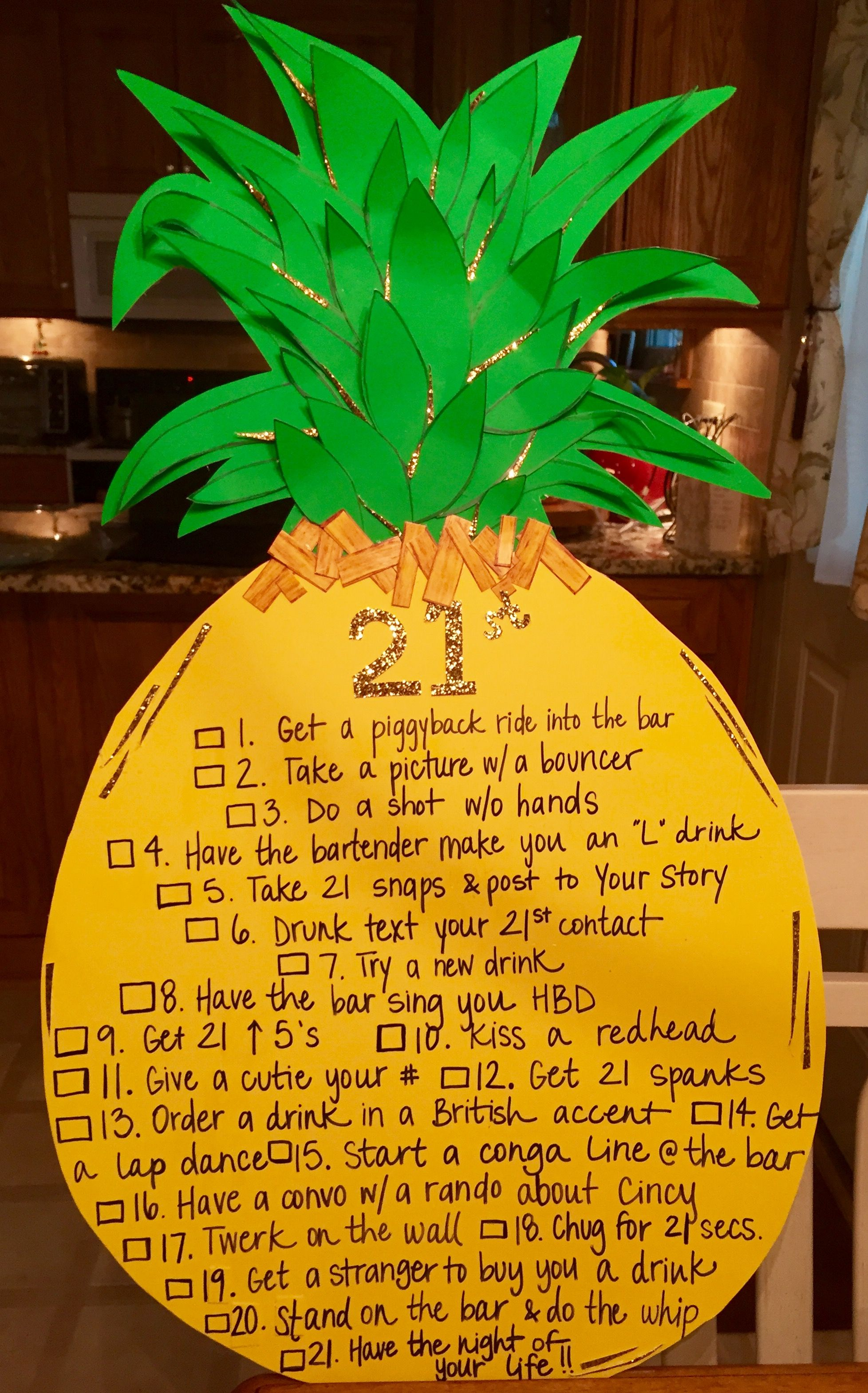 21 Best Images About Cute Boys On Pinterest: 21st Birthday Pineapple Checklist Sign!