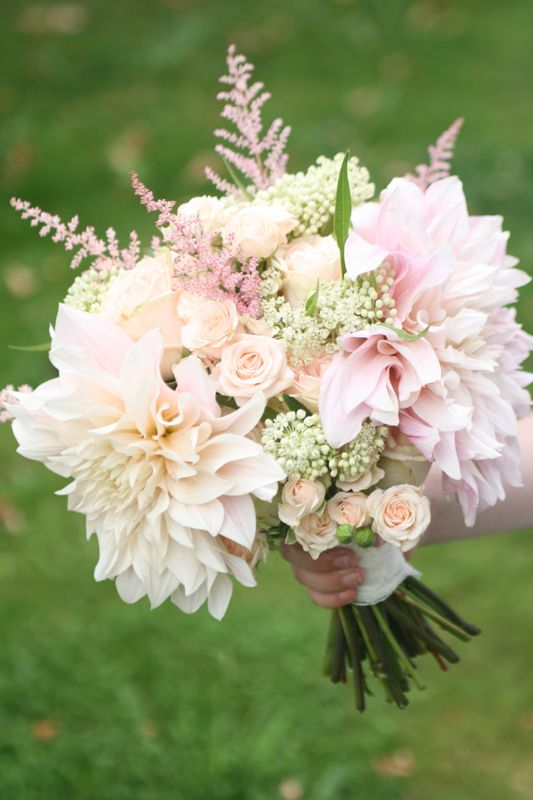 Cafe au Lait Dahlias are available, astilbe is iffy, spray roses (used in limited numbers) available