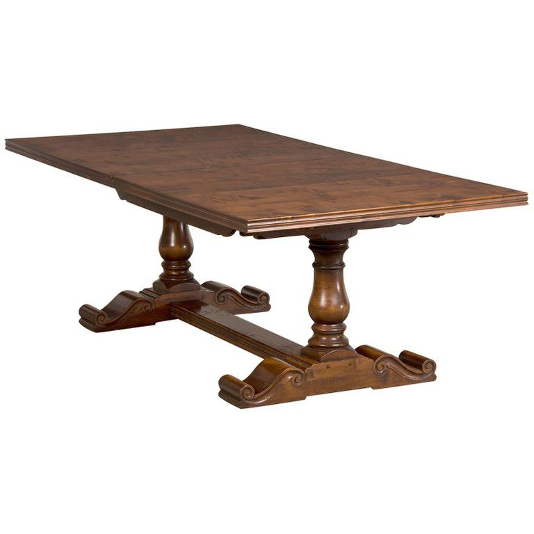 English Hand Planed Waxed Cherrywood Trestle Dining Table