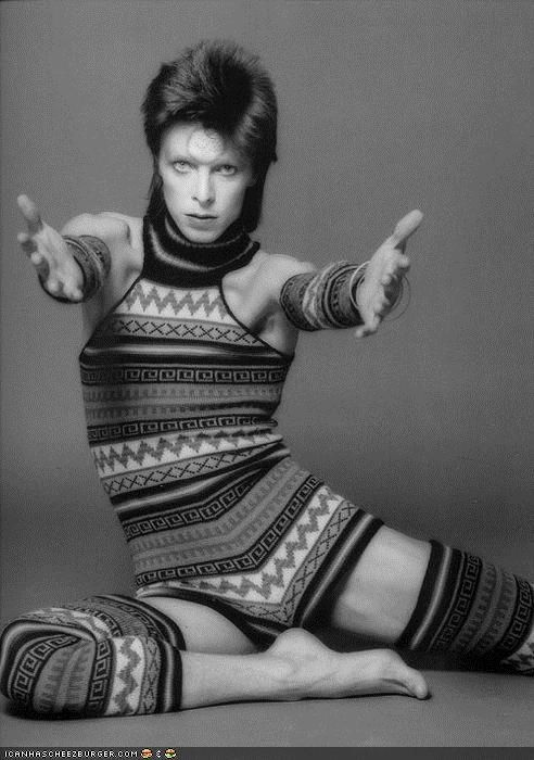 bowie (in a knitted onesie)