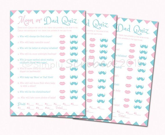 Printable Baby Shower Game Mom Or Dad Trivia Lips And Mustache