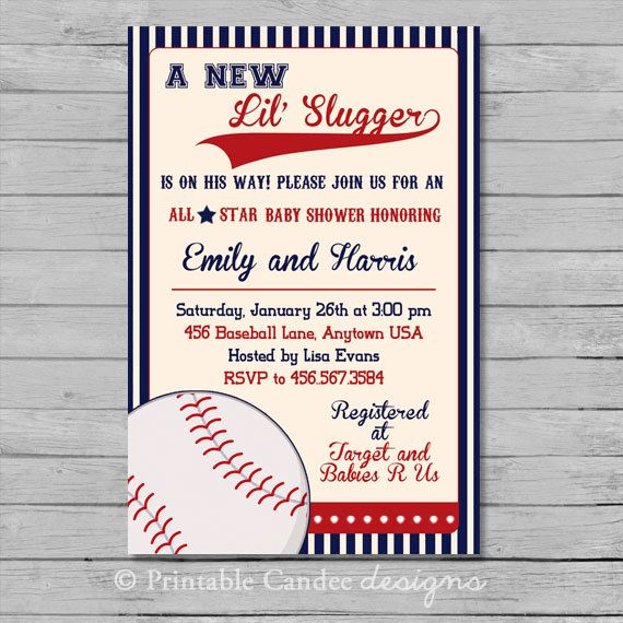 vintage baseball baby shower invitation diy by printablecandee, Baby shower