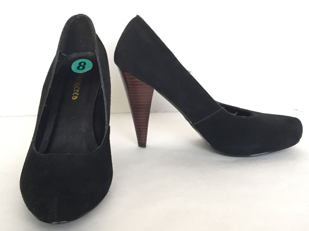 775f8472fbf5 Restricted Women s Black Leather Suede Round Toe High Heel Pumps Size US 8  M  Restricted  PumpsClassics  WeartoWork