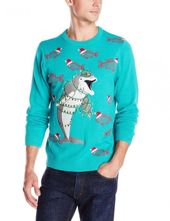 Christmas Jumper Sweater Festive Rex Dinosaur Men/'s Turquoise