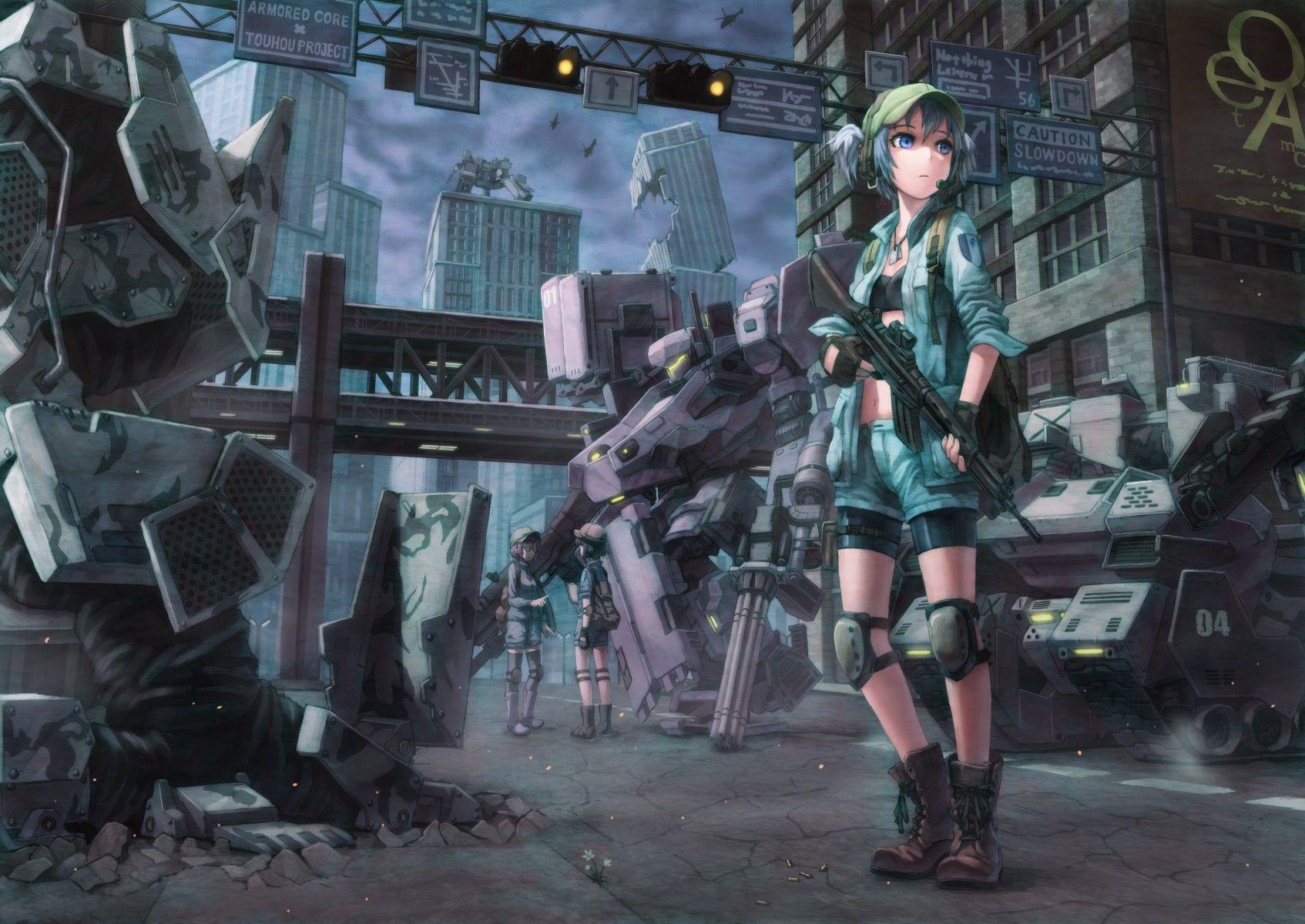 anime 1694x1200 mech anime gun apocalyptic blue eyes blue hair