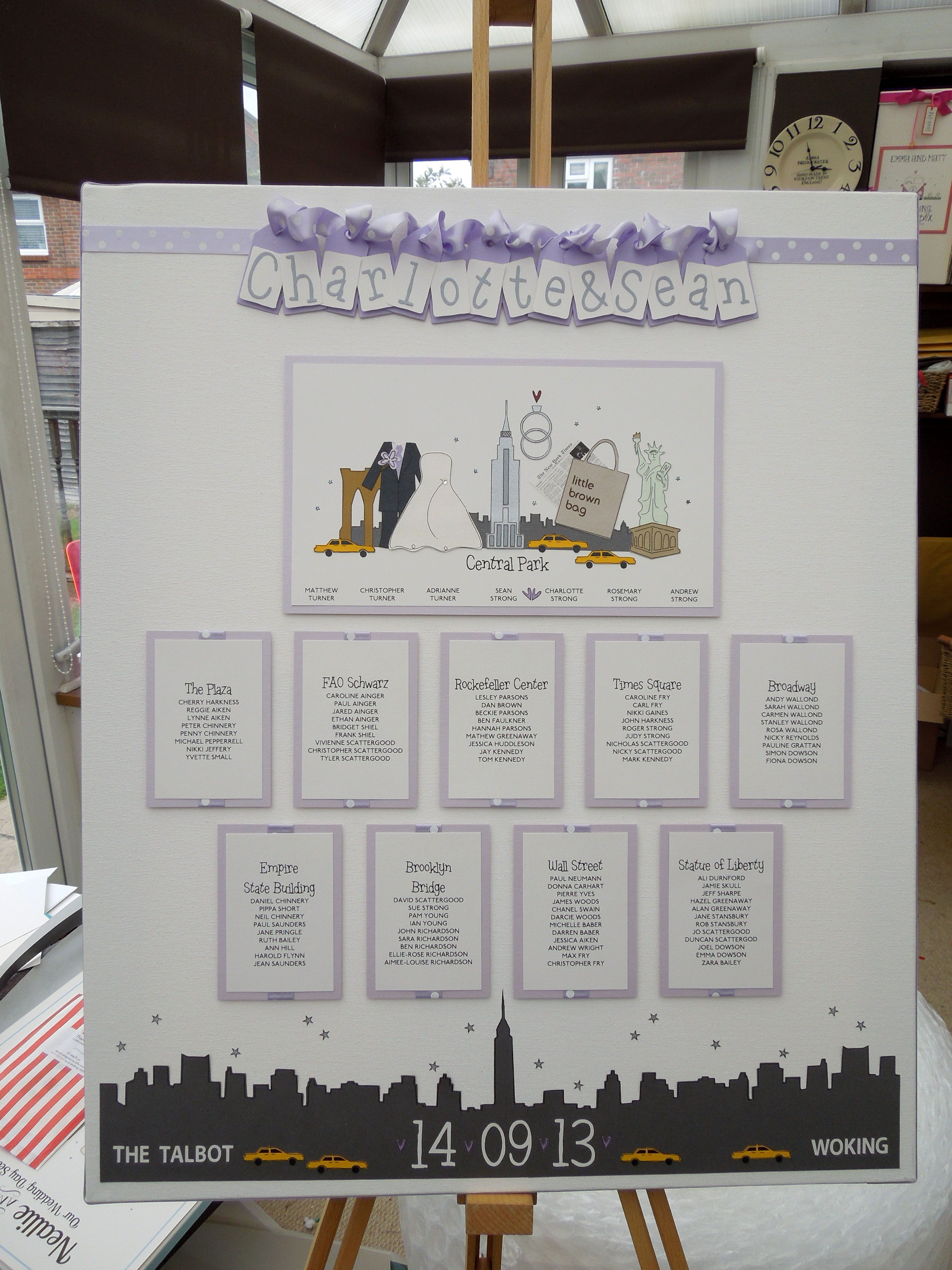 New York City themed \'mini scene\' wedding table plan in lilac a ...
