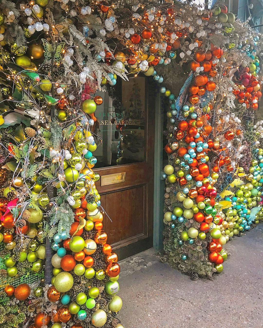 The most festive of entrances. the ivy Chelsea Garden