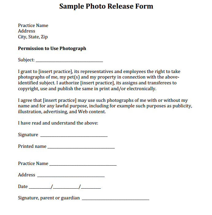 Sample Photo Release Form courtesy of Dr Eric Garcia and Simple – Ups Signature Release Form