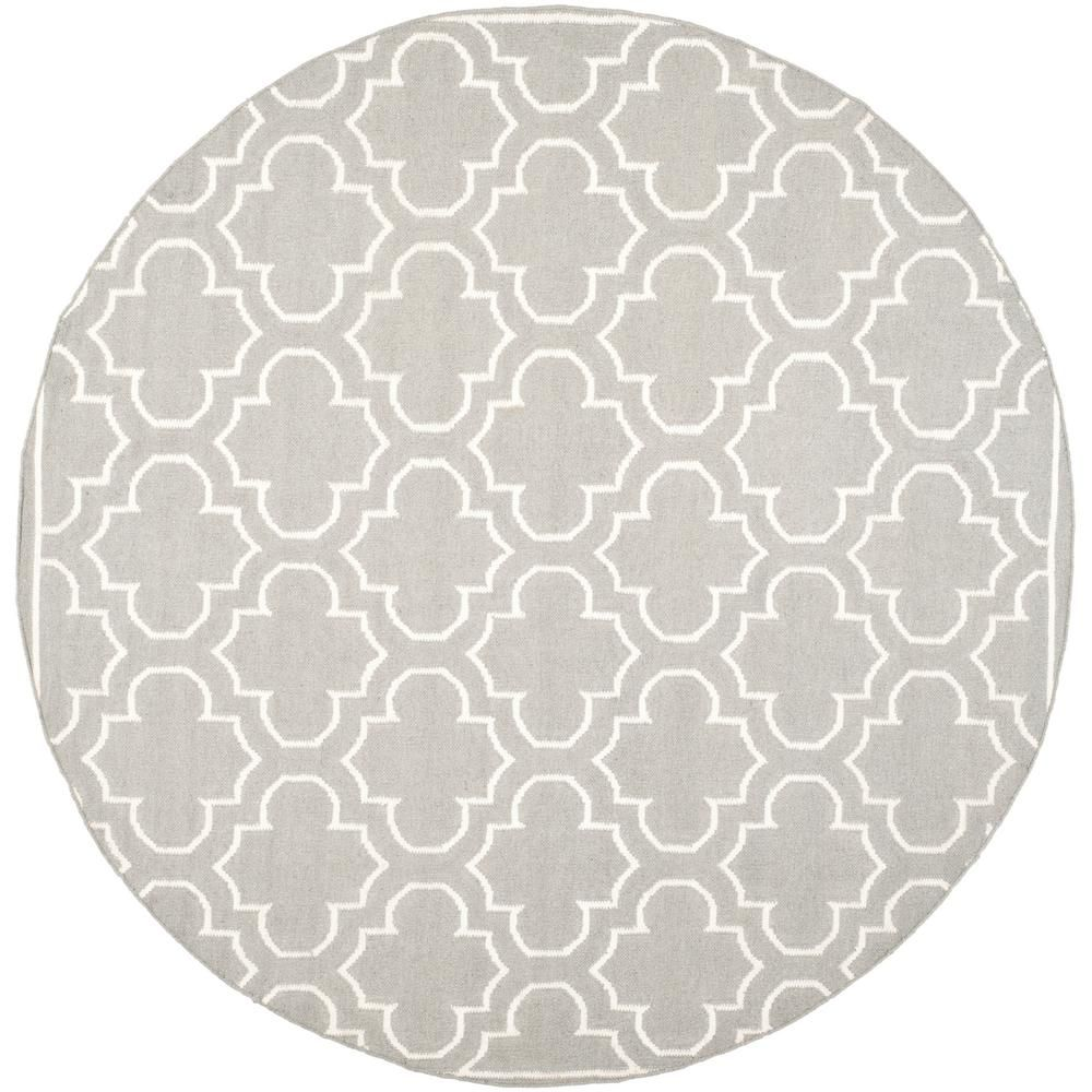 Safavieh Dhurries Gray Ivory 7 Ft X 7 Ft Round Area Rug Area