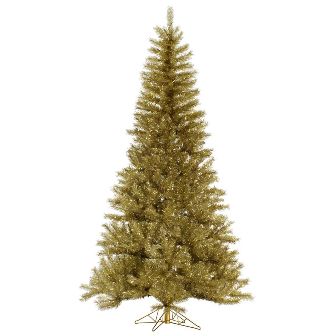 10' Champagne Gold and Silver Tinsel Artificial Christmas Tree - Unlit 31344069 | ChristmasCentral